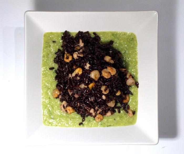 Riso venere con crema di zucchine e gamberetti - Ricette Passo Passo con foto